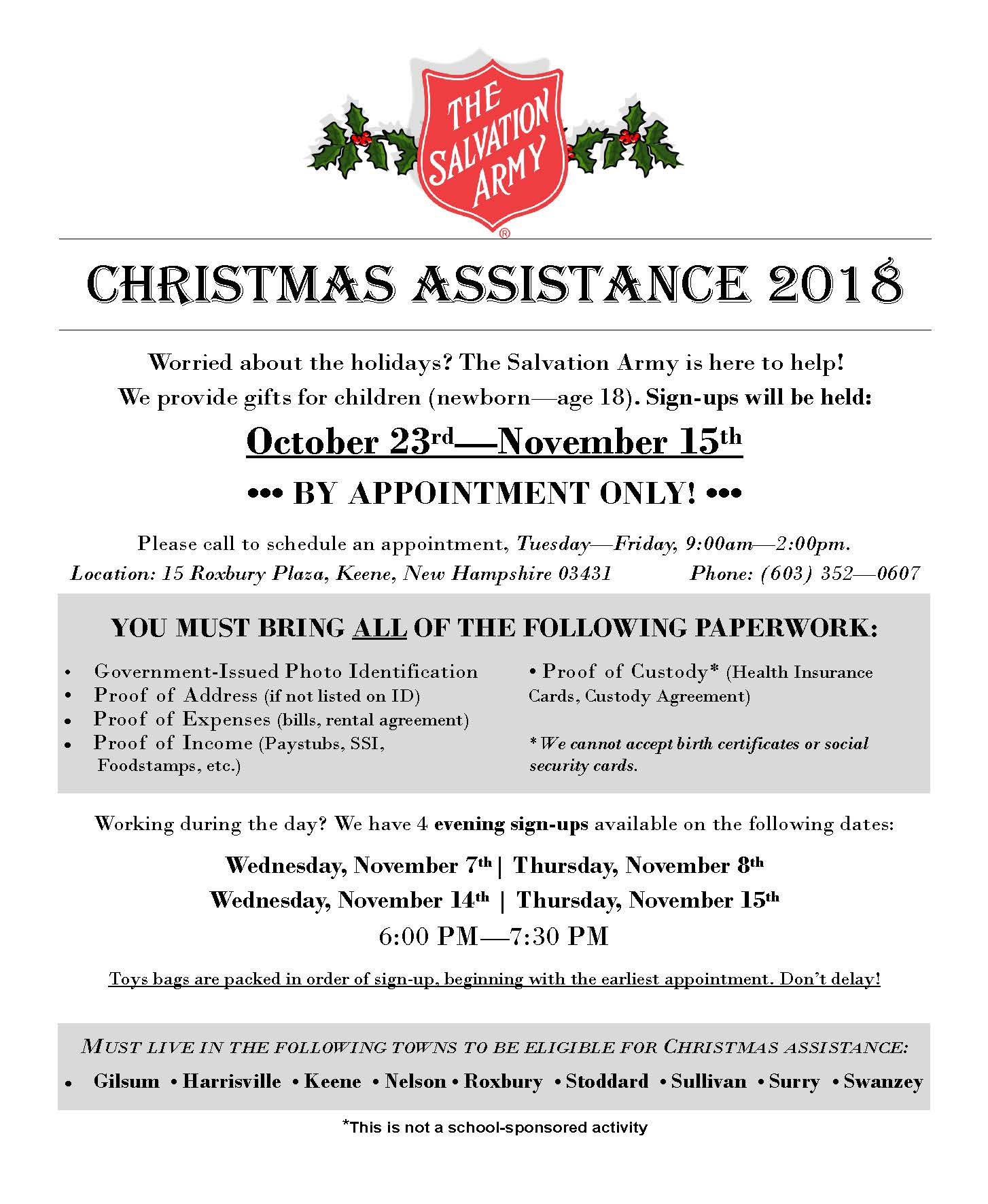 Help With Christmas.The Salvation Army Offers A 2018 Christmas Assistance